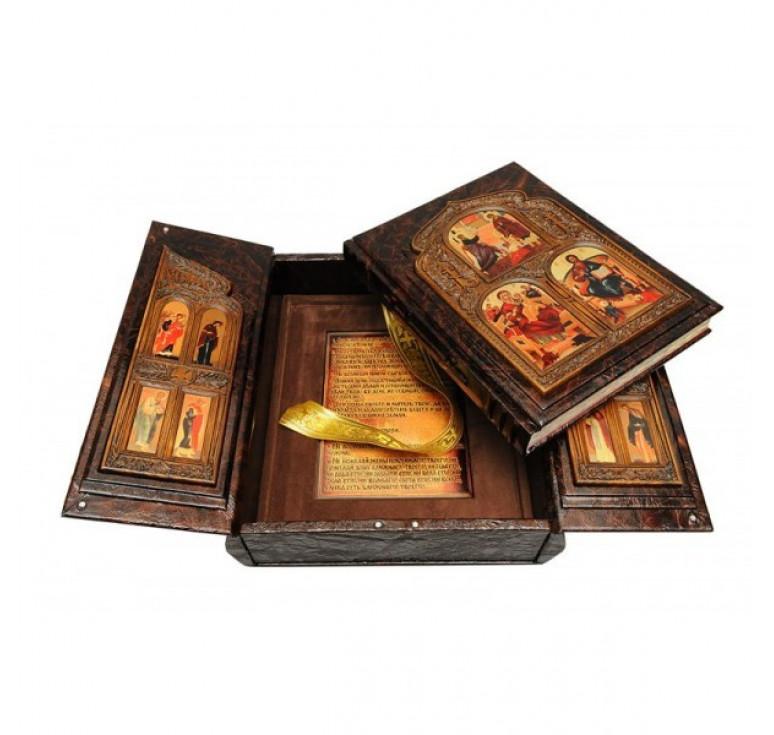 Библия (в коробе иконостас-складень с дер. вставками)