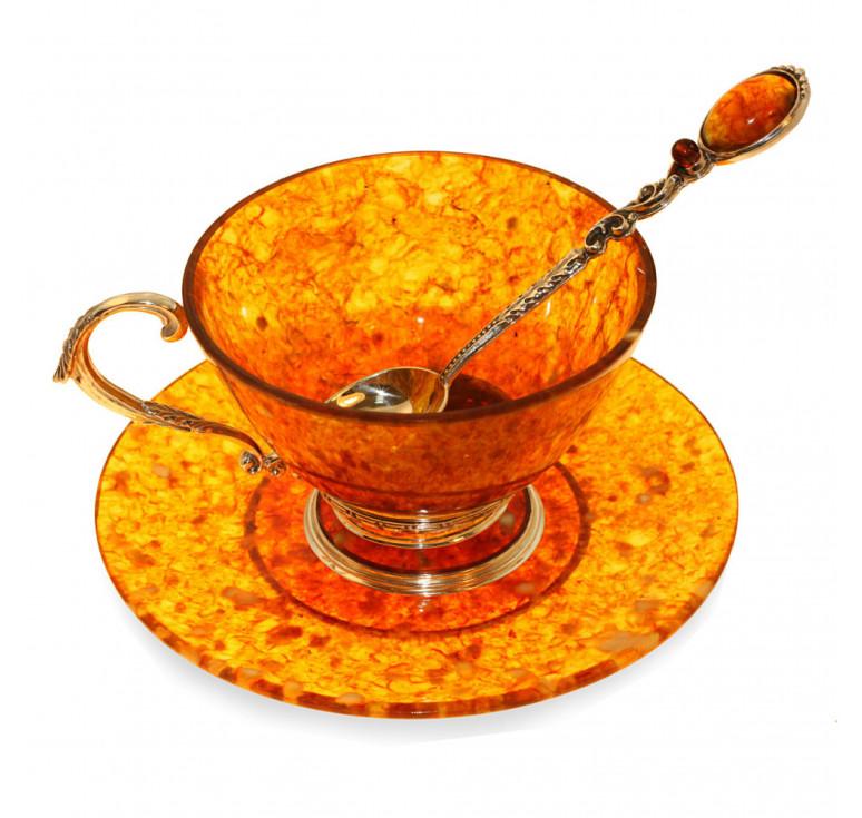 Чашка чайная ажурная из янтаря с ложкой