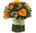 Букетик оранжевых роз  Вельвет маленький Ø14 H15