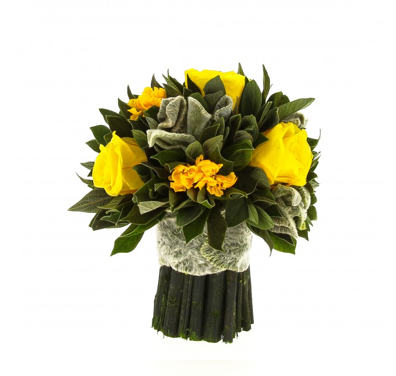 Букетик желтых роз композиция Вельвет