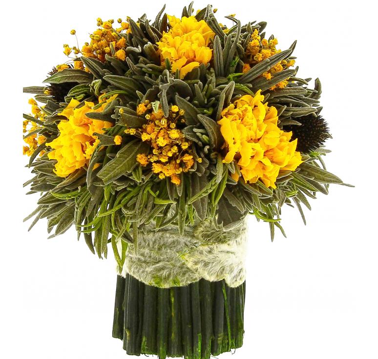 Желтых цветов букетик лаванда маленькая Ø14 H15 роз