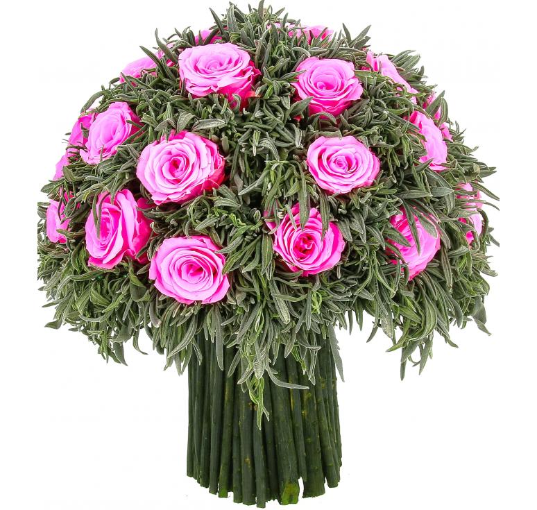 Букет розовый  Лаванда Зелёная роз Крупный бутон Ø28 H28
