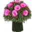 Букет из розовых роз и зеленой лаванды, диаметр 19