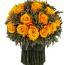 Букет из зелёной лаванды 21 средний бутон роз, 19 см высота, 19 см ширина, цвет оранжевый