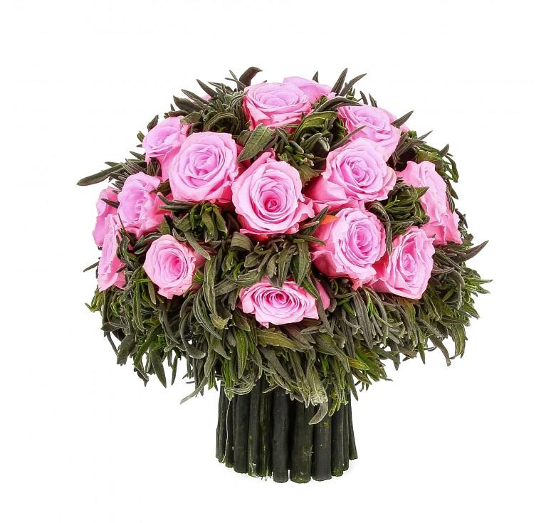 Букет из зелёной лаванды 21 средний бутон роз, 19 см высота розовый