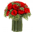 Букет из зелёной лаванды и 21 средних ярко красных роз, 19 см высота, 19 см ширина