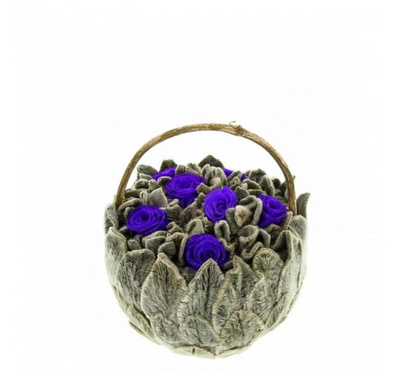 Корзинка Петит Чистец маленькая с синими розами  Ø11 H10