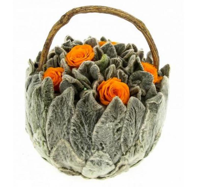 Корзинка с оранжевыми розами Петит Чистец маленькая  Ø11 H10