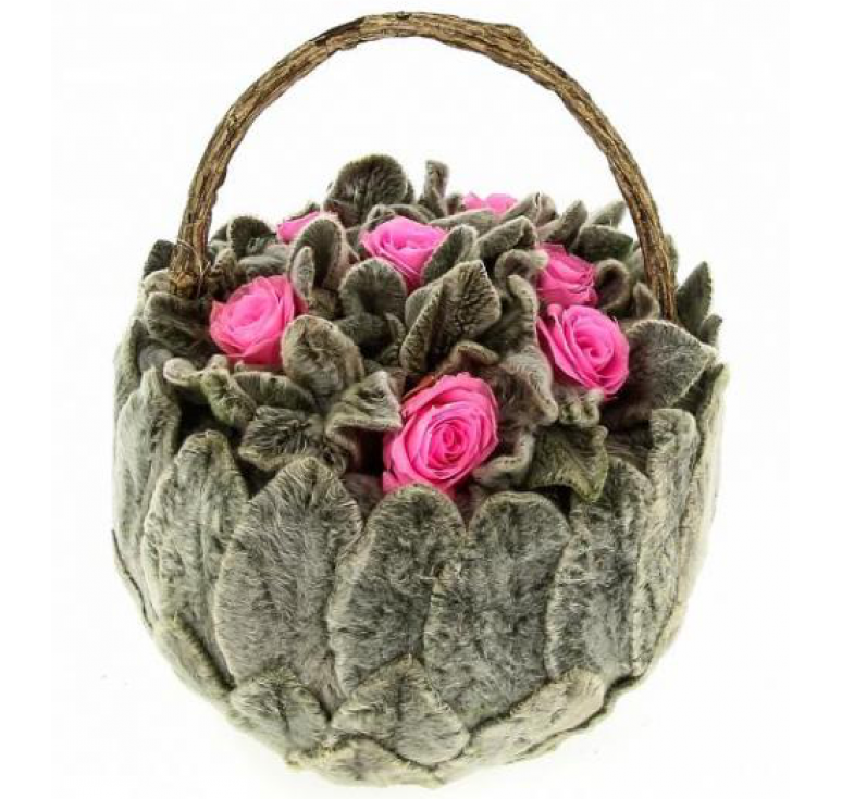 Корзинка маленькая с розовыми розами  Ø11 H10