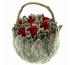 Корзинка Петит Чистец маленькая с красными розами Ø11 H10