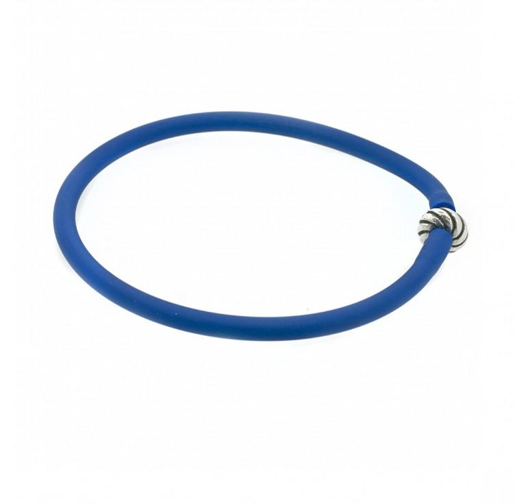 Браслет-накопитель силиконовый серебряный голубой (синий)