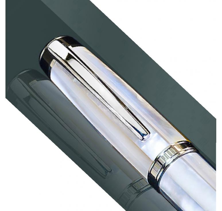Сувенирная серебряная ручка с натуральным перламутром