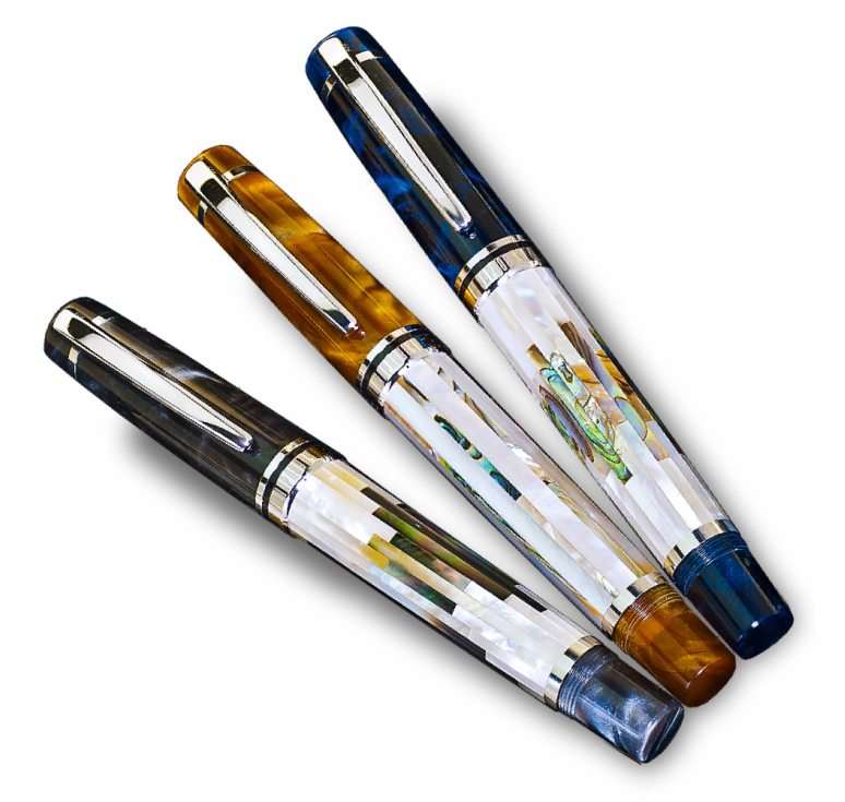 "Ручка сувенирная ""Соната"" серебро 925 и перламутр, три цвета"