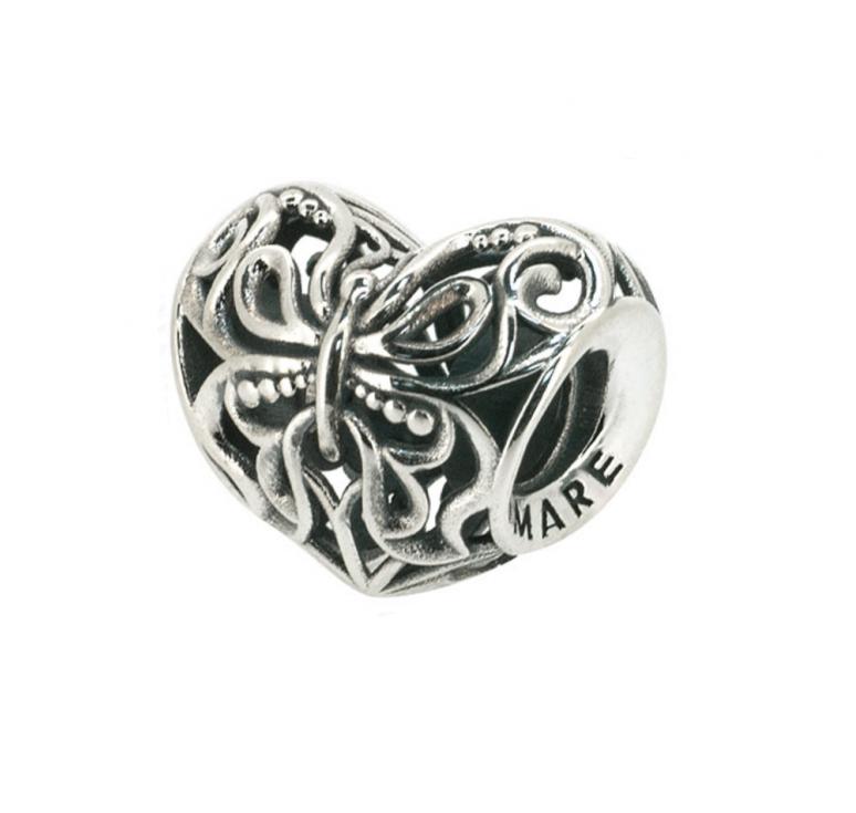 Шарм серебряный в виде сердца, с орнаментом