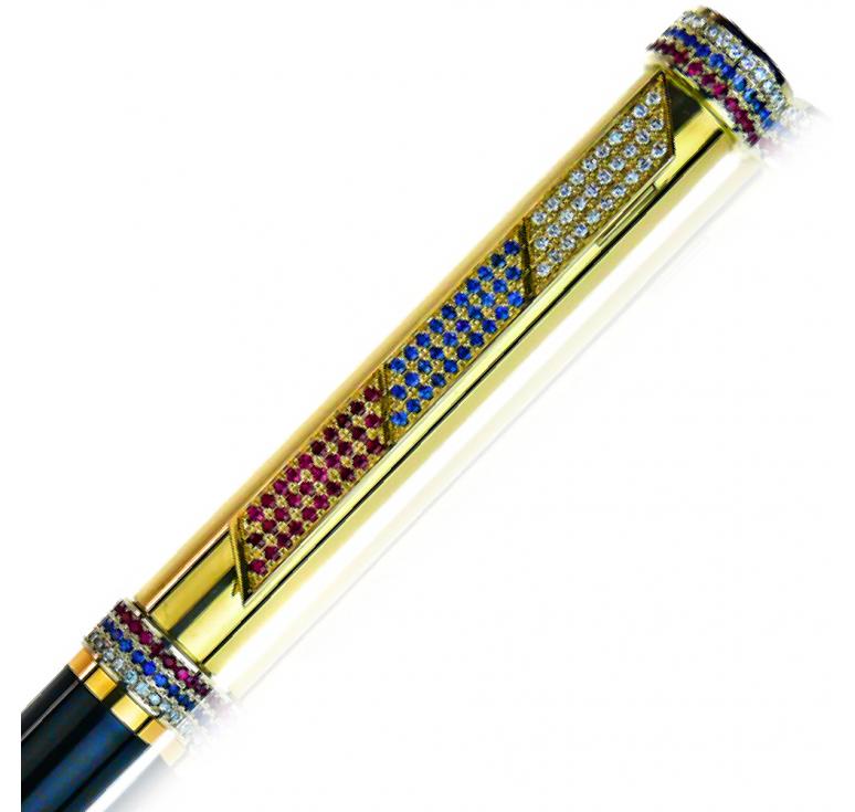 "Подарочная ручка из золота,  ""Russia-61"""" 102 бриллианта 30 сапфиров и 33 рубина"