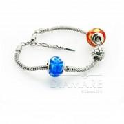 """Набор из шармов и браслета-накопителя, серебро 925 ,муранское стекло  """"Футбол"""""""