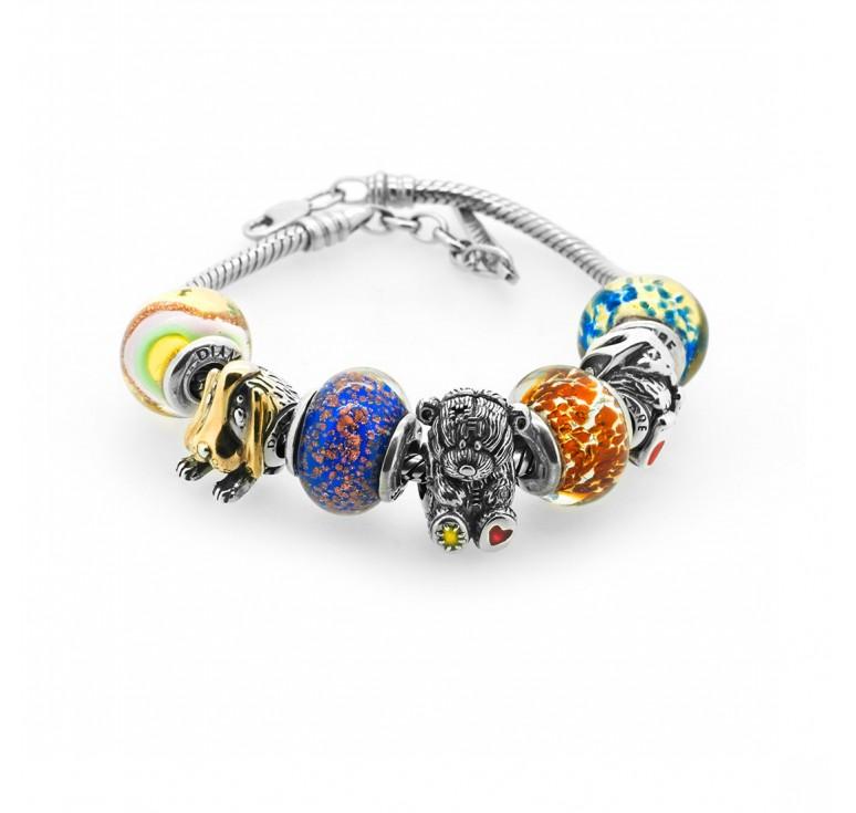 Наборное украшение - браслет из комплекта шармов с животными из серебра и муранского стекла