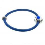 Браслетик силиконовый синий серебряный