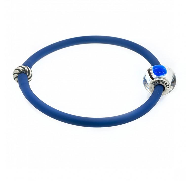 Браслетик  из синего силикона и серебра с муранским стеклом