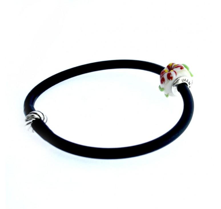 Браслетик силиконовый черный с шармом из муранского стекла