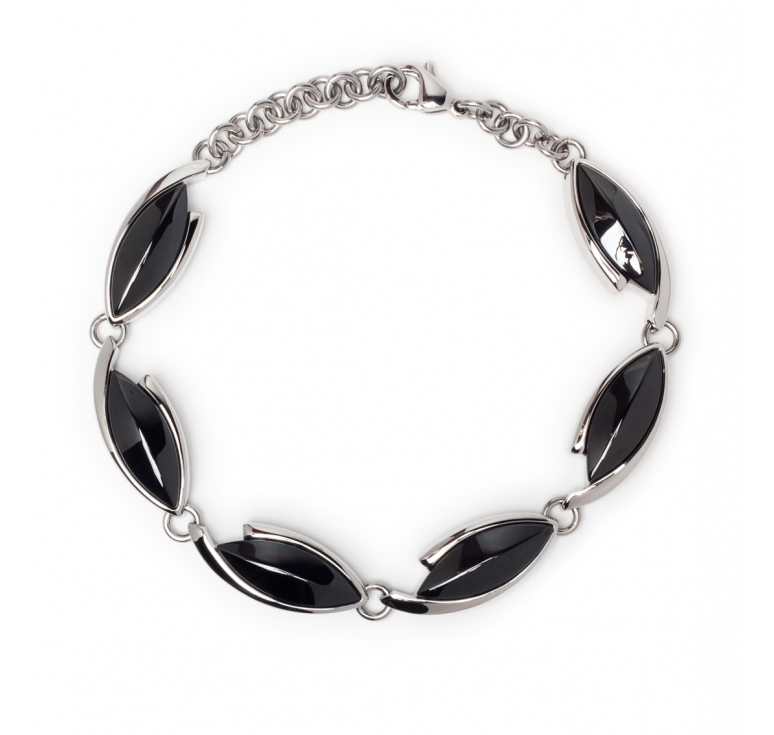 Женский браслет с черными элементами ювелирная сталь