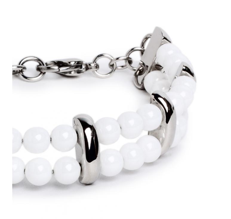 Белый женский браслет из ювелирной стали