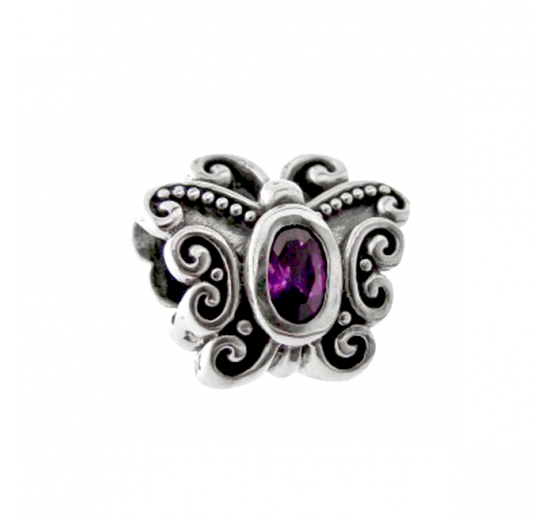 Шарм - бусина из серебра 925 с большим цирконом - фиолетовая бабочка