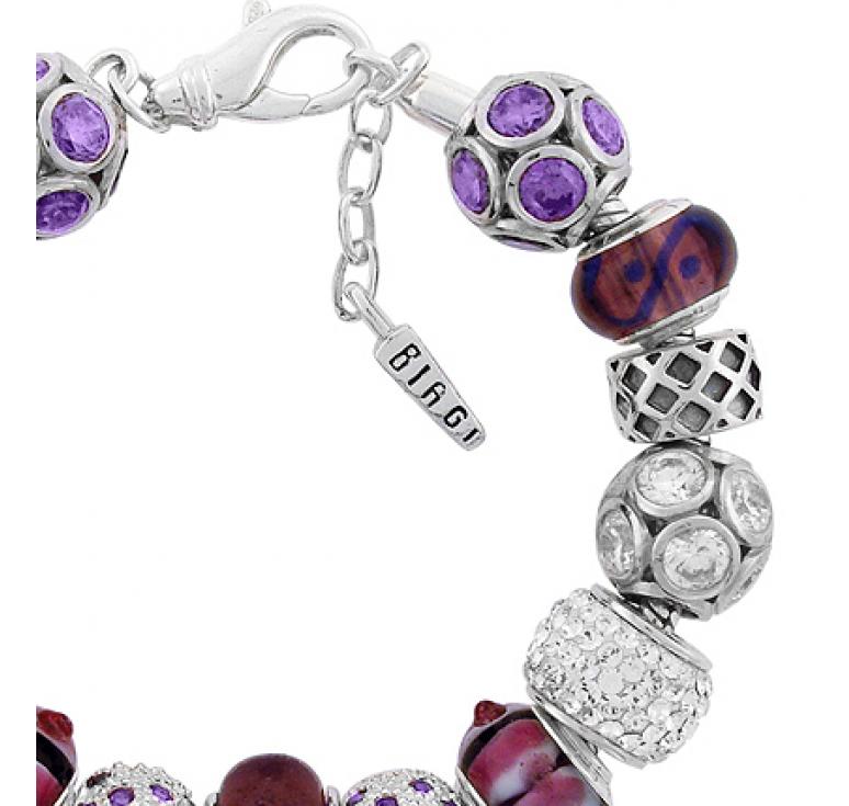 Браслет Carlo Biagi серебряный с 15-ю бусинами с кристаллами сваровски и цирконием