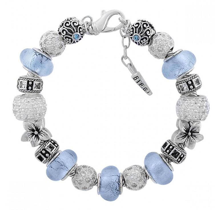 Женский серебряный браслет с кристаллами Swarovski муранским стеклом с  19-ю бусинами
