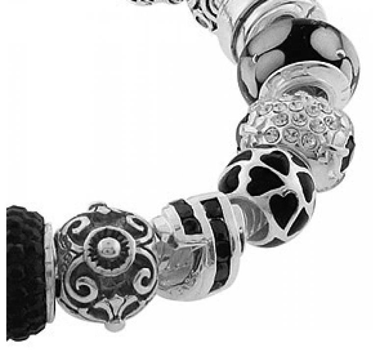 Браслет серебряный с 19-ю бусинами с кристаллами сваровски и цирконием