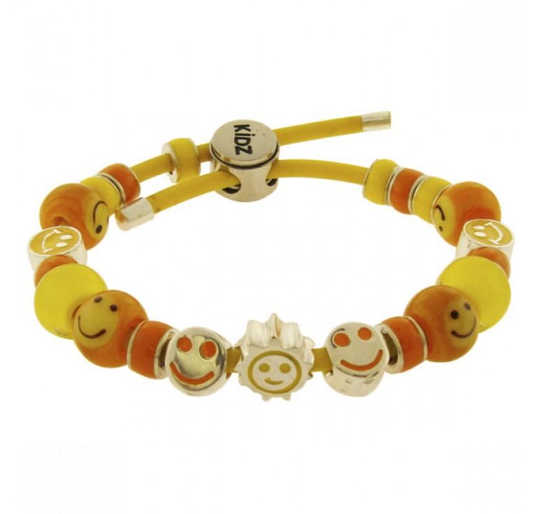 Серебряный детский браслет с шармами 925 эмаль и муранское стекло