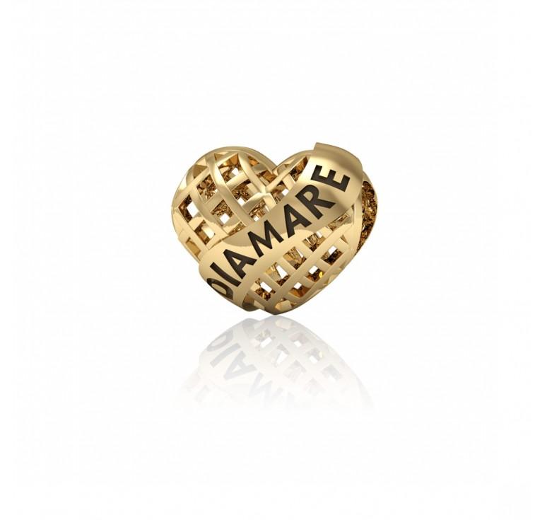 Золотое сердечко шарм для браслета