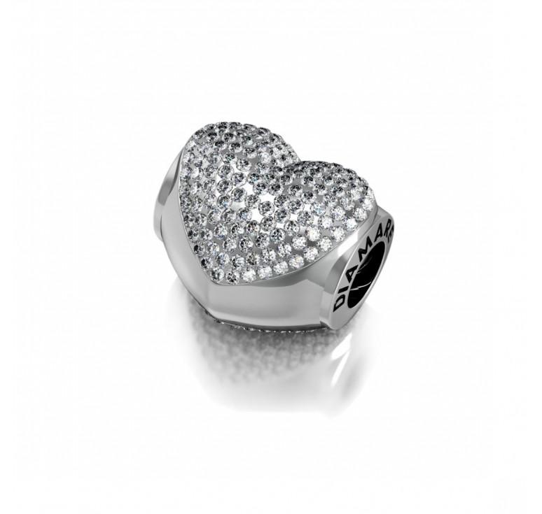 Шарм серебряный с кристаллами сваровски - серебряное сердце