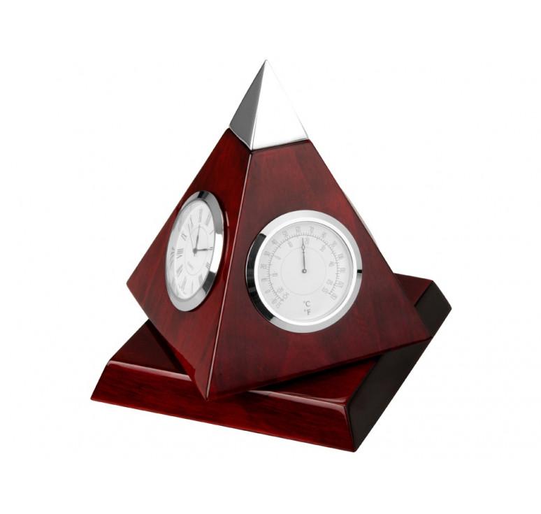 Погодная станция Пирамида, красное дерево/серебристый