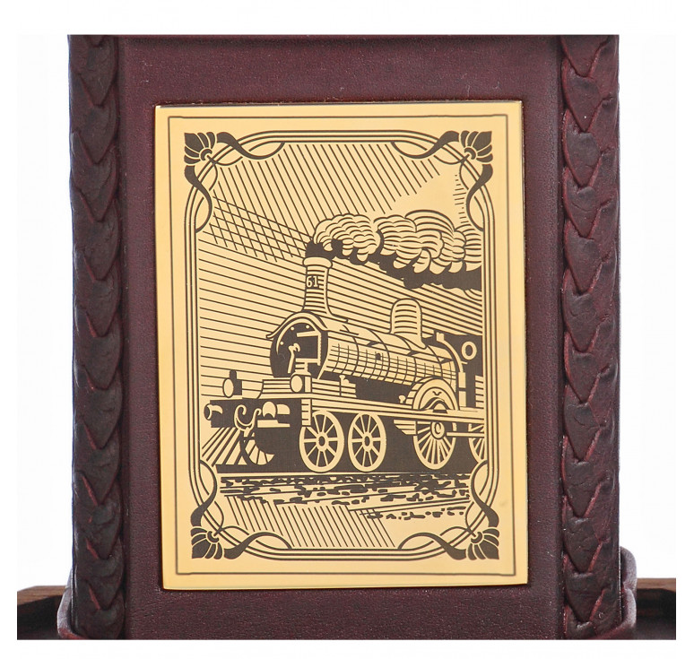 Графин «Железнодорожнику-3» с накладкой покрытой золотом 999 пробы