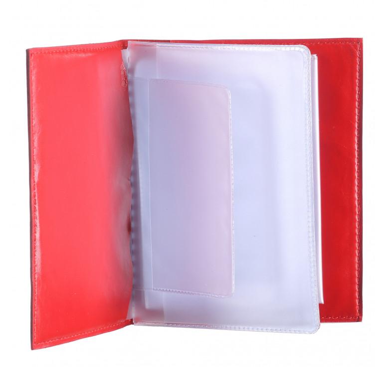 Обложка для автодокументов «Геометрия» красная