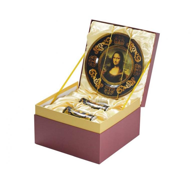 VIP Подарочный набор «Мона Лиза»: блюдо для сладостей, две кружки