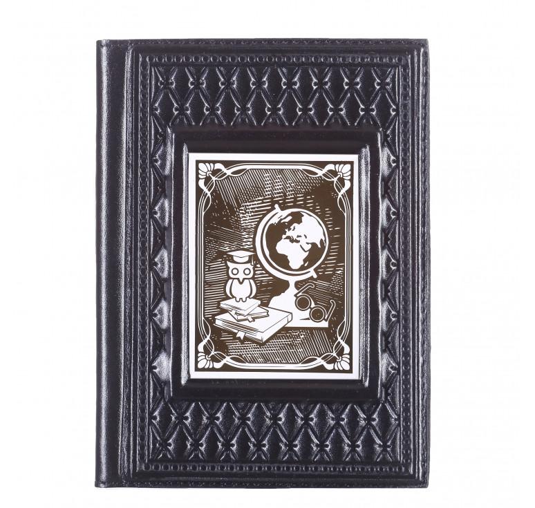 Обложка для паспорта «Учителю-4» с накладкой покрытой никелем