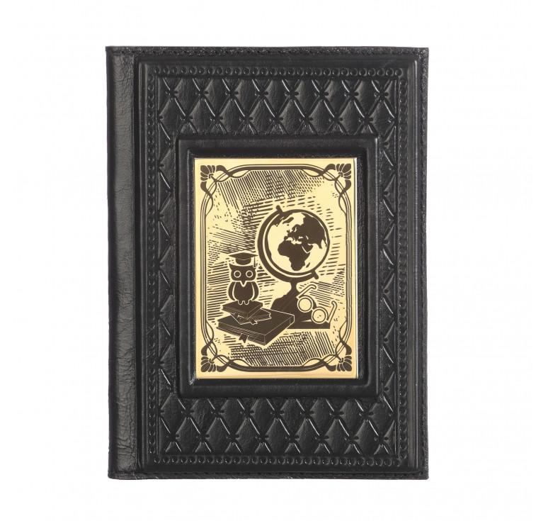 Обложка для паспорта «Учителю-2» с накладкой покрытой золотом 999 пробы