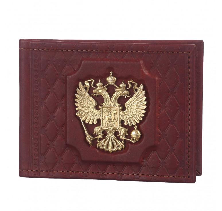 Обложка для удостоверения «Федерация» с латунным орлом. Цвет бордо