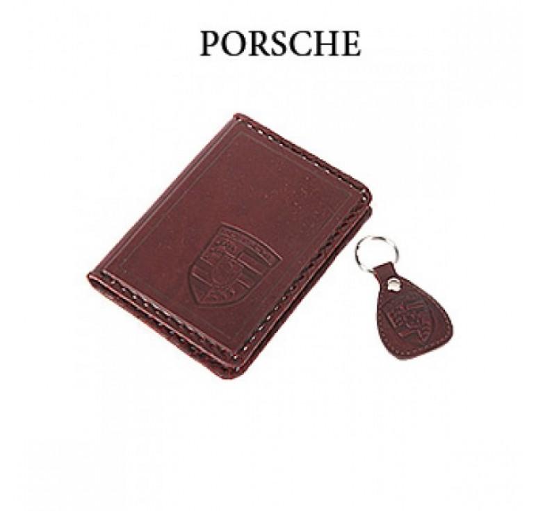 Обложка для водительского удостоверения с брелком «PORSCHE» 065-07-18К