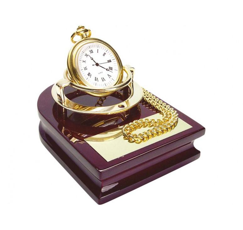 VIP Часы «Магистр» на деревянной подставке с цепочкой