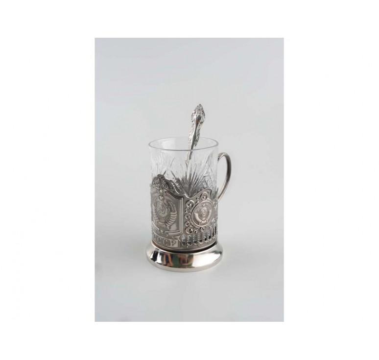 VIP Набор «Герб СССР»: стакан с подстаканником и ложкой