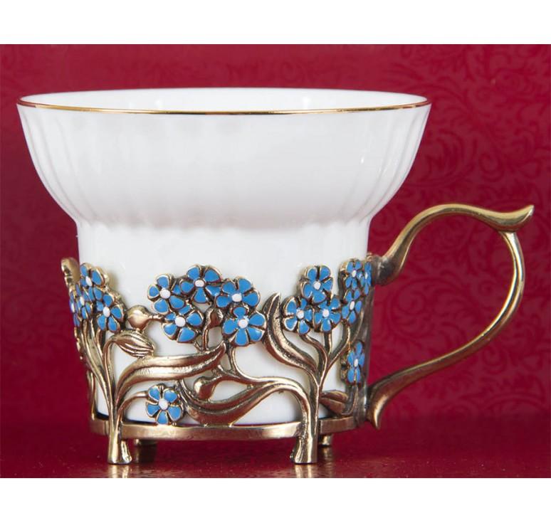 Набор из шести  фарфоровых чашек Незабудки(эмаль) в картонном футляре