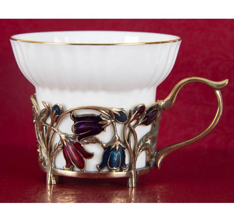 Набор из шести  фарфоровых чашек Колокольчики(эмаль) в картонном футляре