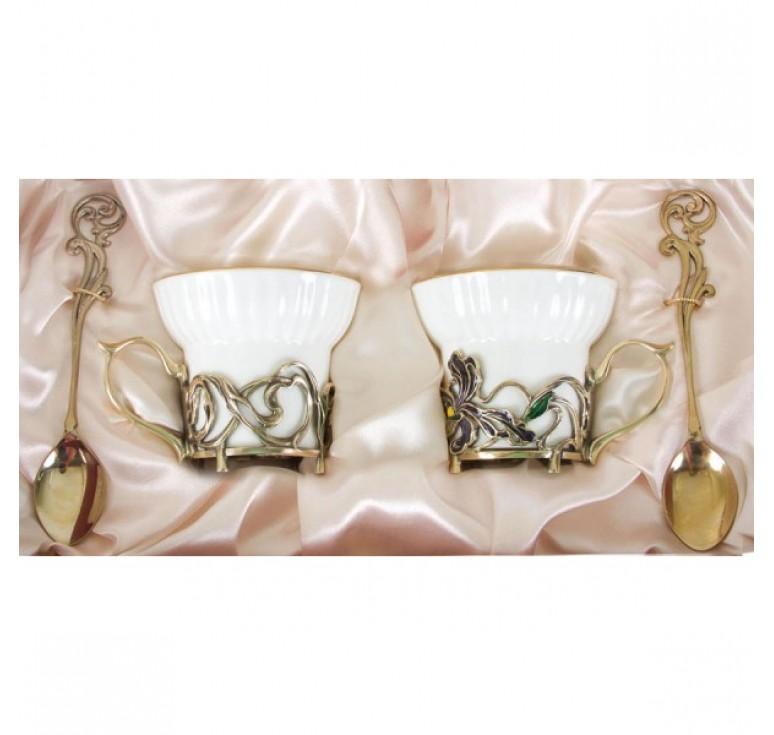 Чайная пара фарфоровая Ирисы(эмаль) в картонном футляре