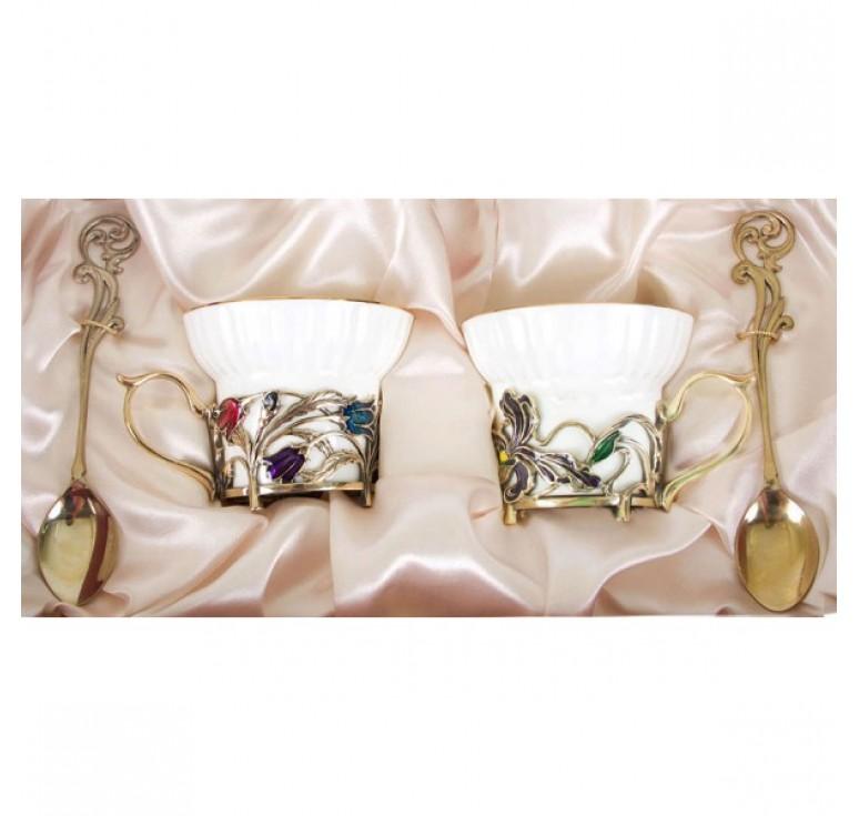 Чайная пара фарфоровая Колокольчики и Ирисы(эмаль) в картонном футляре