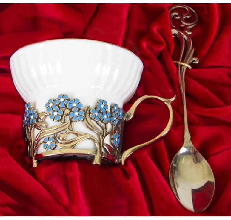 Чайная пара фарфоровая Колокольчики и Незабудки(эмаль) в шкатулке