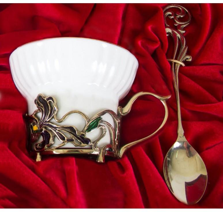 Чайная пара фарфоровая Ирисы(эмаль) в шкатулке