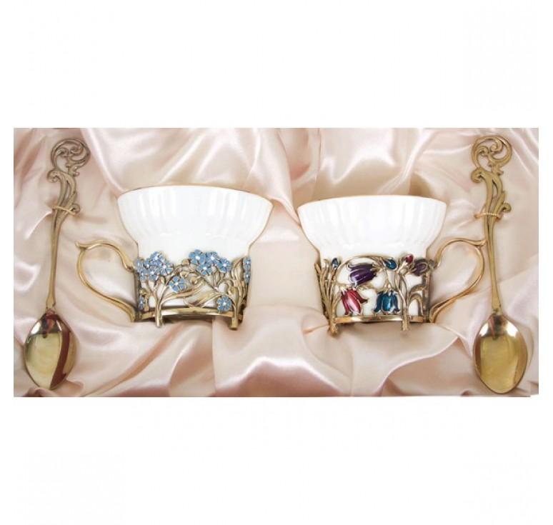 Чайная пара фарфоровая Колокольчики и Незабудки(эмаль) в картонном футляре